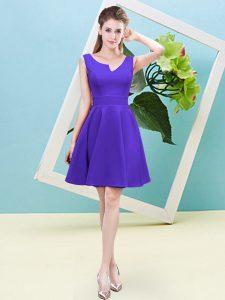Shining Purple Zipper Damas Dress Ruching Sleeveless Mini Length