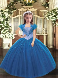 Eye-catching Floor Length Blue Little Girls Pageant Dress Straps Sleeveless Lace Up