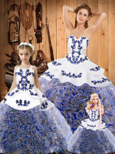 Most Popular Multi-color Ball Gowns Strapless Sleeveless Fabric With Rolling Flowers Sweep Train Lace Up Embroidery 15th Birthday Dress