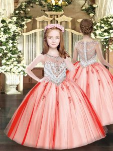 Coral Red Ball Gowns Scoop Sleeveless Tulle Floor Length Zipper Beading and Appliques Little Girls Pageant Gowns