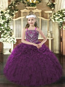 Latest Dark Purple Straps Neckline Beading and Ruffles Little Girls Pageant Dress Sleeveless Lace Up