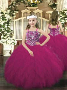 Gorgeous Fuchsia Sleeveless Beading and Ruffles Floor Length Kids Pageant Dress