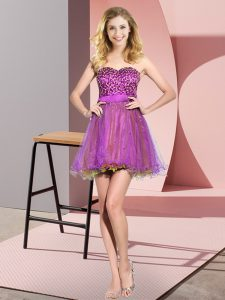 Multi-color Empire Tulle Sweetheart Sleeveless Beading and Sequins Mini Length Lace Up Court Dresses for Sweet 16
