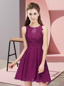 Empire Court Dresses for Sweet 16 Dark Purple Scoop Chiffon Sleeveless Mini Length Zipper