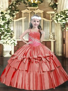 Coral Red Ball Gowns Organza Straps Sleeveless Beading and Ruffled Layers Floor Length Lace Up Pageant Gowns