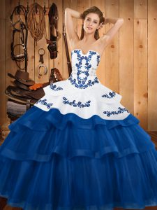 Glamorous Blue Strapless Neckline Embroidery and Ruffled Layers Vestidos de Quinceanera Sleeveless Lace Up