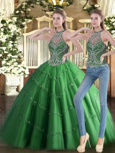Chic Green Tulle Lace Up High-neck Sleeveless Floor Length Sweet 16 Dresses Beading