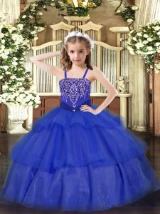 Floor Length Royal Blue Child Pageant Dress Straps Sleeveless Lace Up