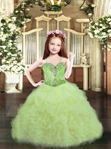 Yellow Green Spaghetti Straps Neckline Beading and Ruffles and Pick Ups Pageant Dress Toddler Sleeveless Lace Up