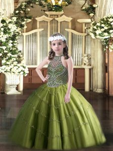 Olive Green Winning Pageant Gowns Party and Quinceanera with Beading Halter Top Sleeveless Lace Up