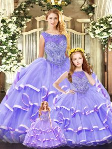 Artistic Lavender Organza Lace Up Scoop Sleeveless Floor Length Sweet 16 Dresses Beading and Ruffled Layers