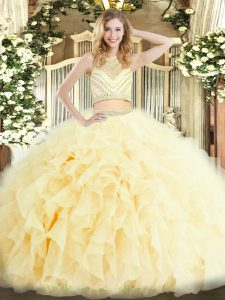 Affordable Light Yellow Two Pieces Scoop Sleeveless Tulle Floor Length Zipper Beading and Ruffles Sweet 16 Dress