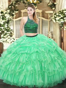 Sophisticated Floor Length Apple Green Quinceanera Dresses Organza Sleeveless Beading and Ruffled Layers