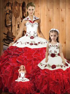Halter Top Sleeveless Tulle Vestidos de Quinceanera Embroidery and Ruffles Lace Up