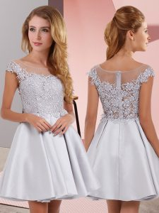 Wonderful Sleeveless Zipper Mini Length Lace Quinceanera Court of Honor Dress