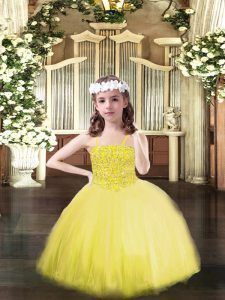Excellent Yellow Tulle Lace Up Spaghetti Straps Sleeveless Floor Length Little Girls Pageant Dress Wholesale Beading
