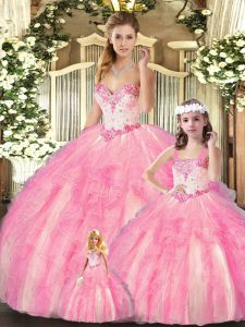 Hot Sale Baby Pink Sleeveless Floor Length Beading and Ruffles Lace Up Quinceanera Gown
