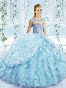 Decent Blue Ball Gowns Beading and Ruffles and Pick Ups Quinceanera Gown Lace Up Organza Sleeveless