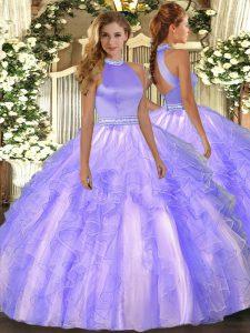Spectacular Ball Gowns 15 Quinceanera Dress Lavender Halter Top Organza Sleeveless Floor Length Backless