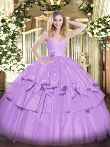Lavender Ball Gowns Taffeta Sweetheart Sleeveless Beading and Ruffled Layers Floor Length Lace Up Quince Ball Gowns