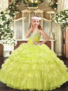 Hot Sale Floor Length Lace Up Girls Pageant Dresses Yellow Green for Party and Quinceanera with Beading and Ruffled Layers and Pick Ups