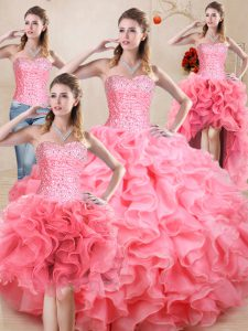 Sleeveless Floor Length Beading and Ruffles and Ruching Lace Up Quinceanera Gowns with Baby Pink