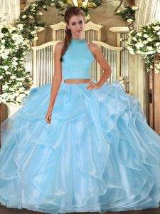 Comfortable Organza Halter Top Sleeveless Backless Beading and Ruffles Quince Ball Gowns in Light Blue