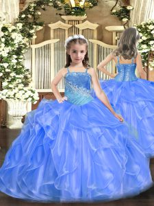 Organza and Sequined Sleeveless Floor Length Pageant Dress Womens and Ruffles and Sequins