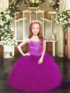 Beauteous Fuchsia Sleeveless Beading and Ruffles Floor Length Pageant Dresses