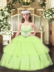 Enchanting Floor Length Ball Gowns Sleeveless Yellow Green Child Pageant Dress Lace Up