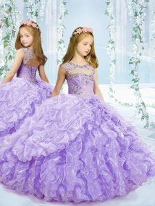 Glorious Lavender Ball Gowns Organza Scoop Sleeveless Beading and Ruffles and Pick Ups Floor Length Lace Up Child Pageant Dress
