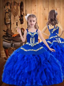 Floor Length Royal Blue High School Pageant Dress Organza Sleeveless Embroidery and Ruffles