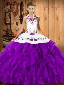 Eggplant Purple Sleeveless Embroidery and Ruffles Floor Length Ball Gown Prom Dress