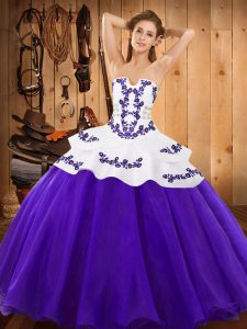 Charming Floor Length Lace Up Quince Ball Gowns Purple for Military Ball and Sweet 16 and Quinceanera with Embroidery