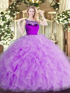 Glamorous Lavender Sleeveless Beading and Ruffles and Hand Made Flower Floor Length 15 Quinceanera Dress