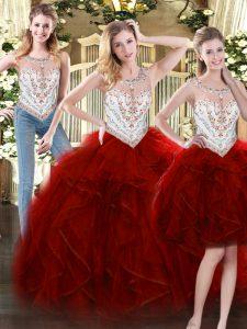 Glamorous Beading and Ruffles Sweet 16 Dress Wine Red Zipper Sleeveless Floor Length