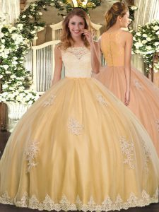Gold Sweet 16 Dress Military Ball and Sweet 16 and Quinceanera with Lace and Appliques Scoop Sleeveless Clasp Handle