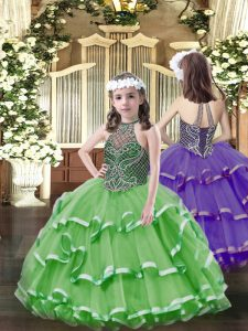 Latest Floor Length Lace Up Pageant Dress Wholesale Green for Party and Quinceanera with Beading and Ruffled Layers