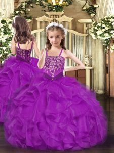 Fuchsia Organza Lace Up Straps Sleeveless Floor Length Child Pageant Dress Beading and Ruffles