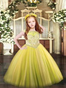 Yellow Sleeveless Floor Length Beading Zipper Little Girl Pageant Gowns