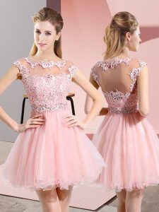 Scoop Sleeveless Side Zipper Court Dresses for Sweet 16 Baby Pink Tulle