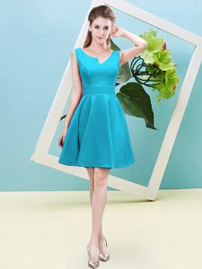 Aqua Blue Zipper Asymmetric Ruching Quinceanera Court of Honor Dress Satin Sleeveless