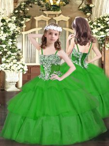 Fashion Floor Length Green Pageant Gowns Straps Sleeveless Lace Up