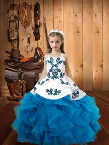 Straps Sleeveless Lace Up Girls Pageant Dresses Baby Blue Organza