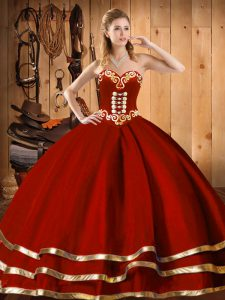 Cute Organza Sweetheart Sleeveless Lace Up Embroidery and Bowknot 15 Quinceanera Dress in Wine Red