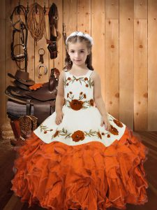 Ball Gowns Kids Pageant Dress Orange Red Straps Organza Sleeveless Floor Length Lace Up