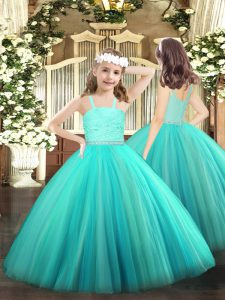 Turquoise Ball Gowns Straps Sleeveless Tulle Floor Length Zipper Beading and Lace Child Pageant Dress