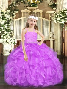 Floor Length Lavender Pageant Dress for Teens Organza Sleeveless Beading and Lace and Ruffles
