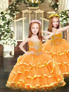 Orange Sleeveless Beading and Ruffled Layers Floor Length Evening Gowns
