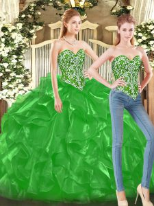 High Quality Beading and Ruffles Quinceanera Dress Green Lace Up Sleeveless Floor Length